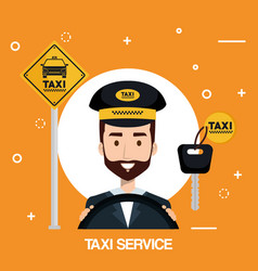 driver man taxi service transport public app vector image