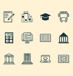 Education icons set with online education vector