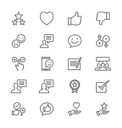 feedback and review thin icons vector image vector image