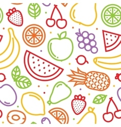 Fruits seamless pattern on white vector image