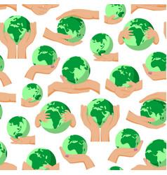 Globe earth planet in human hands fingers holding vector