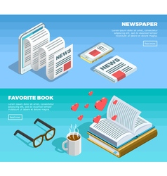 Isometric Reading Banner Set vector image