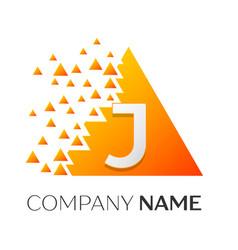 letter j logo symbol on colorful triangle vector image