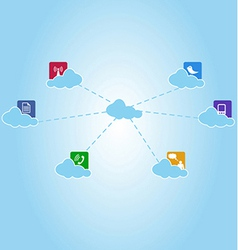 network system and communication clouds vector image