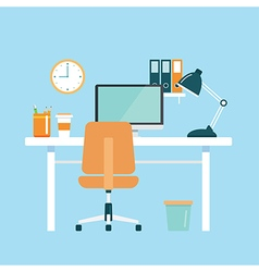 Office workplace flat design vector