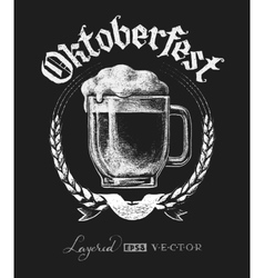Oktoberfest lettering with beer glass vector image vector image