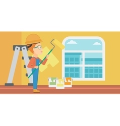 Painter with paint roller vector image