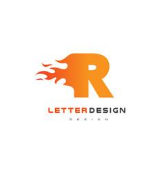 r letter flame logo design fire logo lettering vector image vector image