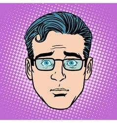 Retro emoji surprise male face vector