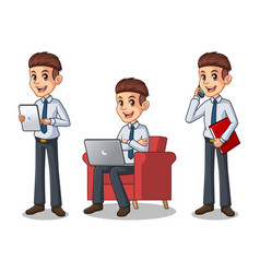 set of businessman in shirt working on gadgets vector image vector image