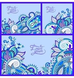 Set of floral blue background template frame vector