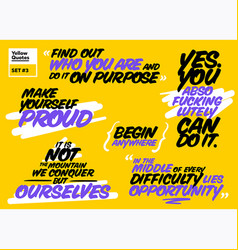 set of short motivational quotes inspiring cards vector image vector image