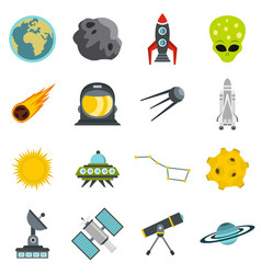 Space set flat icons vector