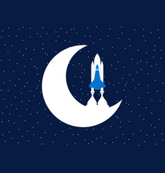 space shuttle and moon outer space vector image vector image