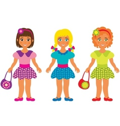 Three little girls vector image