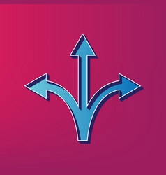 Three-way direction arrow sign blue 3d vector