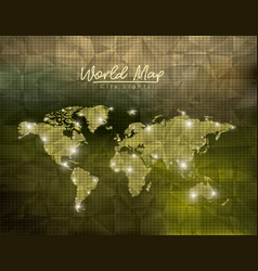 world map city lights in green polygon shape vector image