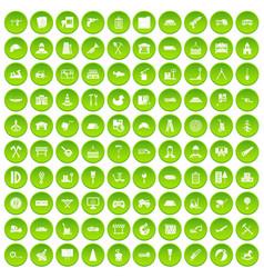 100 lorry icons set green circle vector