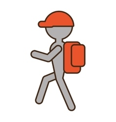 Silhouette man hiking orange cap bag vector
