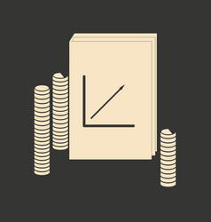 flat in black white report and stack coins vector image