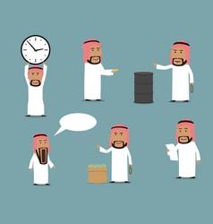 arab businessman cartoon character set vector image