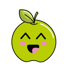 Kawaii cute happy apple fruit vector