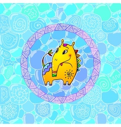 Little yellow fantastic horse with long nose vector