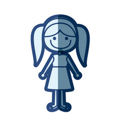 blue silhouette of caricature girl with pigtails vector image