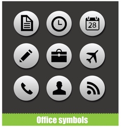 Web office circle pictogram symbols vector