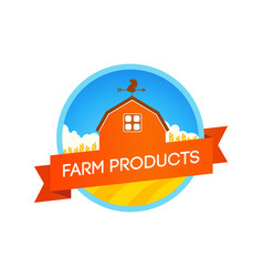 Emblem with farm field and house vector