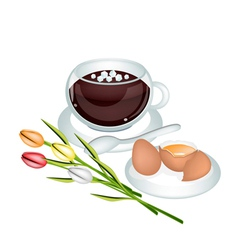 Hot Coffee with Fresh Eggs and Flower vector image
