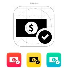 Dollar banknote check icon vector