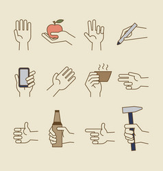 Vintage hand line icons with bottle cup vector