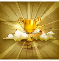 Gold trophy old style background vector image