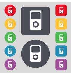Portable musical player icon set colur buttons vector