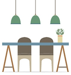 Flat design chairs and table vector