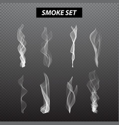Realistic smoke design set black background vector