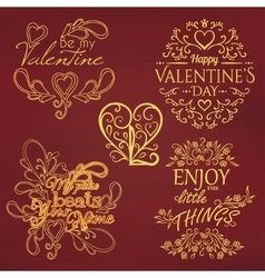Set of calligraphic valentines day design elements vector