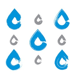 Set of hand-painted blue water drop icons isolated vector