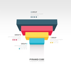 Pyramid cube upside down infographic template vector