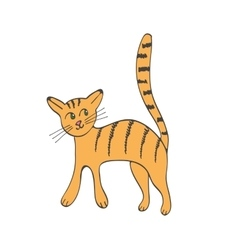 Hand drawn of cute domestic cat vector