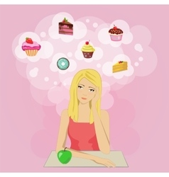 Girl on a diet dreaming of cake and sweets vector