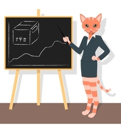 Orange cat pointing to the chart vector