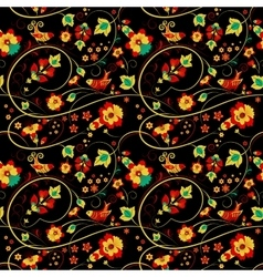Floral khokhloma seamless pattern with birds vector
