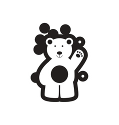 Flat icon in black and white northern bear vector
