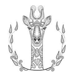 Zentangle giraffe head totem in frame for adult vector