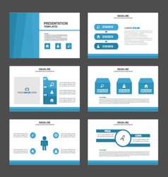 Blue presentation templates infographic elements f vector