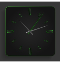 Analog clock with green neon lights vector image