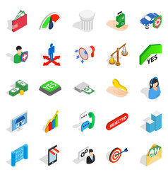 Apprehension icons set isometric style vector
