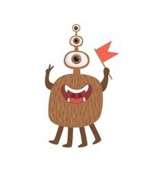 Bromn Many-eyed Friendly Monster With Flag vector image